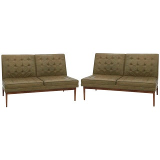 Mid-Century Modern Jens Risom Knoll Tufted Leather Sofas - a Pair For Sale