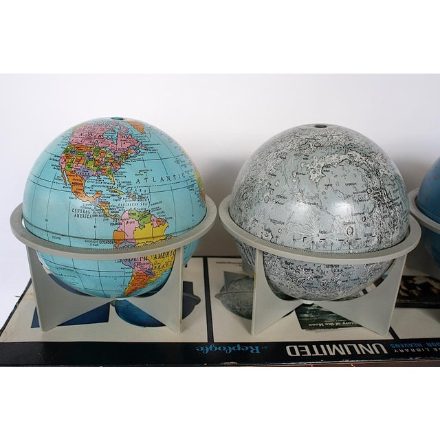 Replogle Globes Vintage Moon Celestial Earth Globes- Set of 3 For Sale - Image 4 of 11