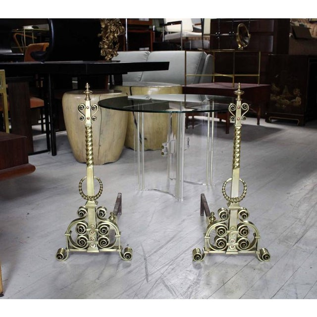 Pair of Heavy Brass or Bronze Andirons For Sale - Image 9 of 9