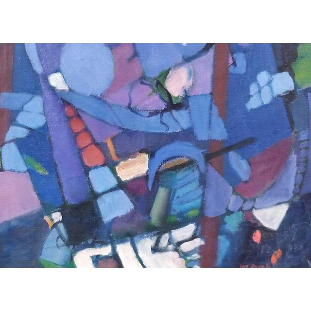 Lois Foley (1936-2000). Striking abstract painting with a rich, deep color palette consisting of light and dark blues,...