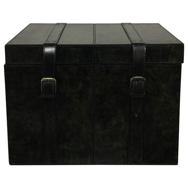 leather black storage trunk box for living room chairish