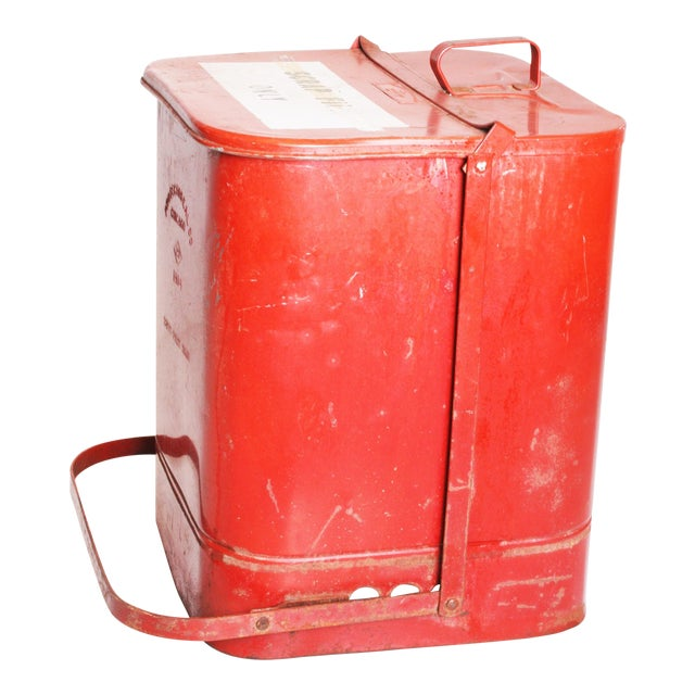 Vintage Industrial Red Metal Trash Can with Flip Top Lid - Image 1 of 11