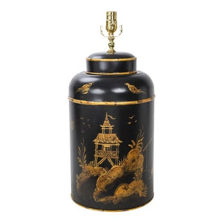 Vintage Black and Gold Chinoiserie English Export Round Tole Tea Caddy Lamp For Sale