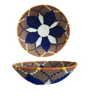 African/Rwandan Blue and Tan Grass and Sisal Woven Basket