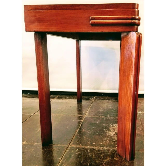 Art Deco Streamline Art Deco Padauk Wood Writing Desk / Pier Table / Console Table For Sale - Image 3 of 6