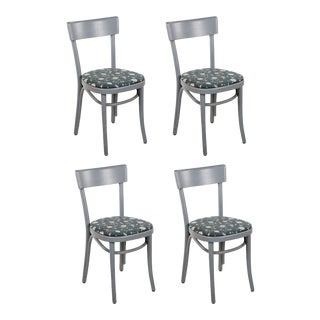 Grey and Floral Upholstered Thonet Bentwood Bistro Chairs - Set of 4 For Sale