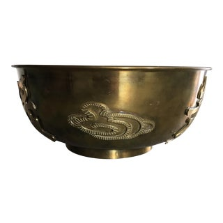 Vintage Solid Brass Chinoiserie Bowl For Sale