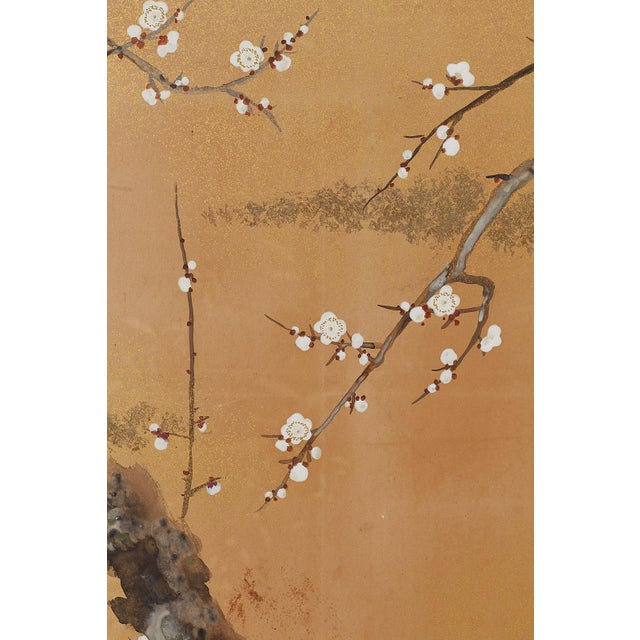 Japanese Four-Panel Screen Prunus Tree With Nandina For Sale - Image 9 of 13