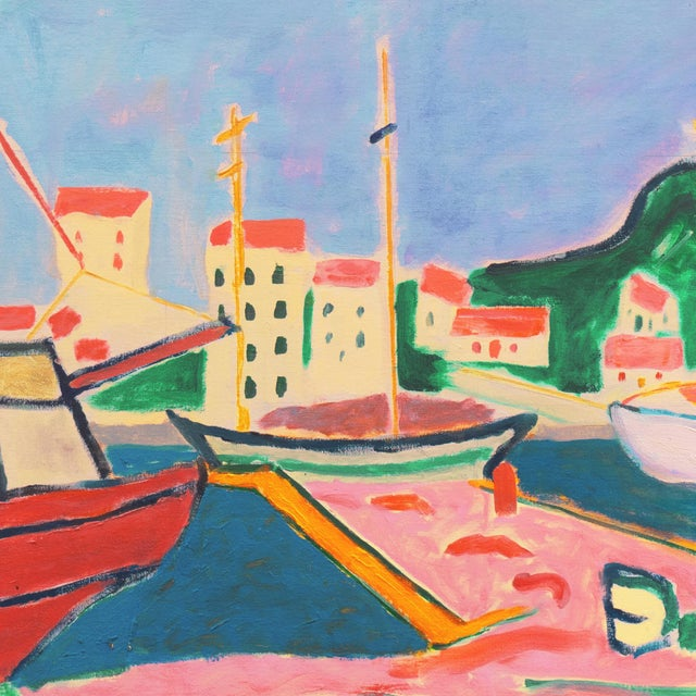 Canvas 'Port De Vendres' by Ant McNaught, 2020, After André Derain, Esalen, California, Post Impressionist Oil For Sale - Image 7 of 12