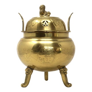 1970's Brass Dragons Censer or Incense Pot For Sale