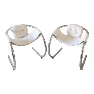 1970s Vintage Byron Botker Sling Chairs - A Pair For Sale