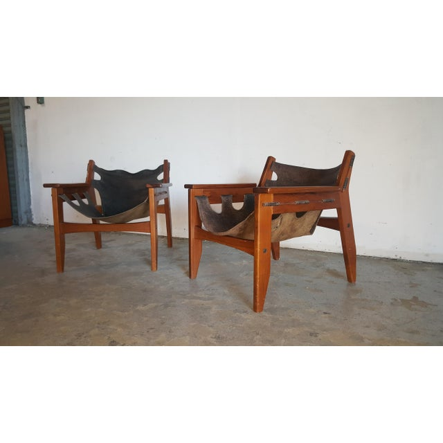 Sergio Rodrigues 1970s Mid-Century Modern Sergio Rodrigues for Oca Industries Kilin Lounge Chairs - a Pair For Sale - Image 4 of 9