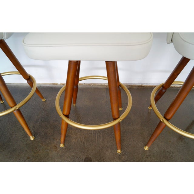 Mid-Century Hollywood Regency Bar Stools - Set of 3 - Image 8 of 11