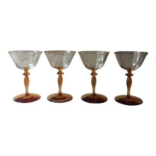 Vintage Amber Footed Champagne Glasses - Set of Four For Sale