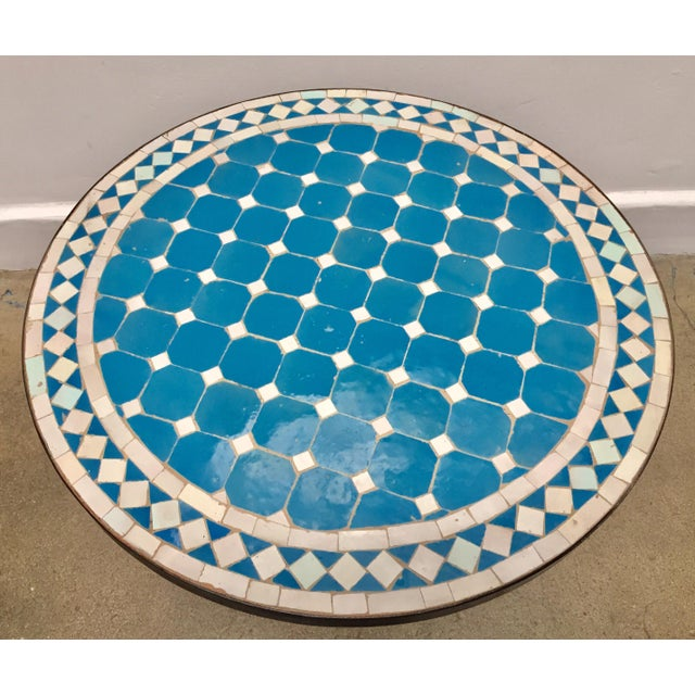 Islamic Moroccan Mosaic Outdoor Blue Tile Side Table on Low Iron Base For Sale - Image 3 of 13