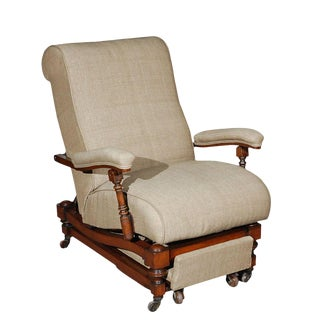 Upholstered Mahogany Reclining Chair For Sale