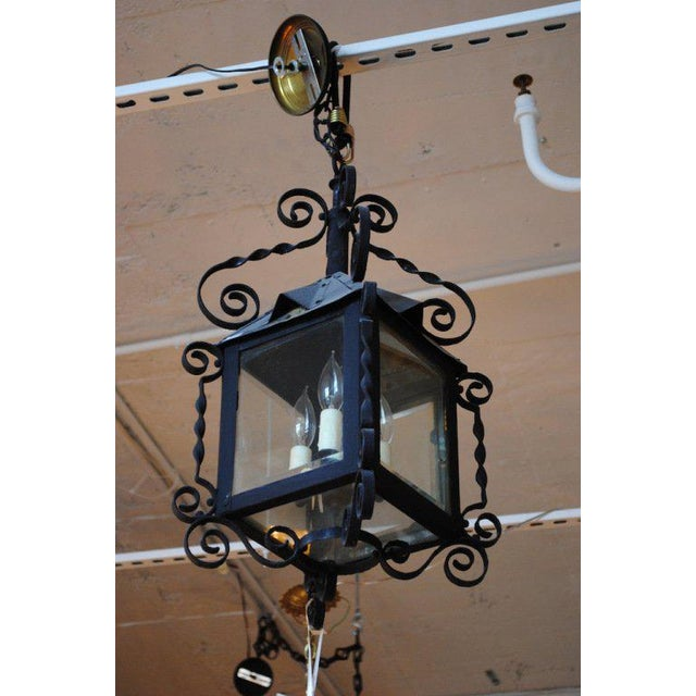 19th Century Four-Sided Arts & Crafts Iron Lantern For Sale In Boston - Image 6 of 6