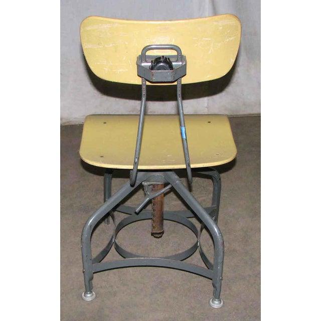 Toledo Vintage Toledo Industrial Adjustable Yellow Stool For Sale - Image 4 of 4