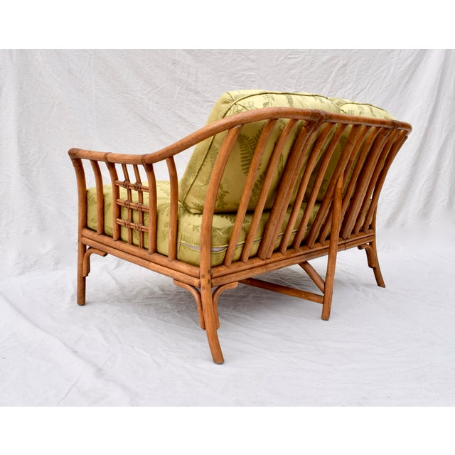 Wood Ficks Reed Style Settee & Ottoman For Sale - Image 7 of 13