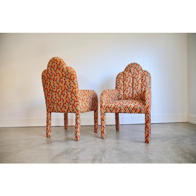 Red Scalloped Postmodern Armchairs- A Pair For Sale - Image 8 of 13