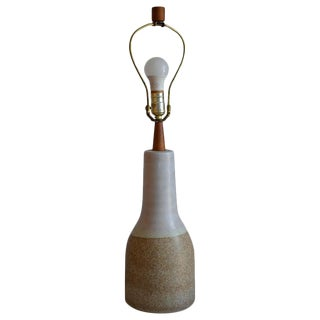 Martz Ceramic Table Lamp, Midcentury, With Walnut Height Extender and Finial For Sale