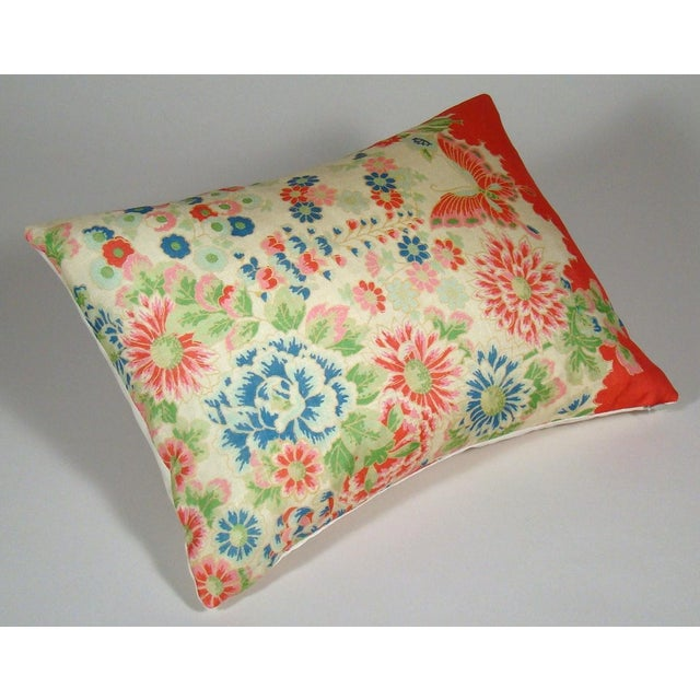 Contemporary Chinese Silk Floral Lumbar Pillow Cover For Sale - Image 3 of 9