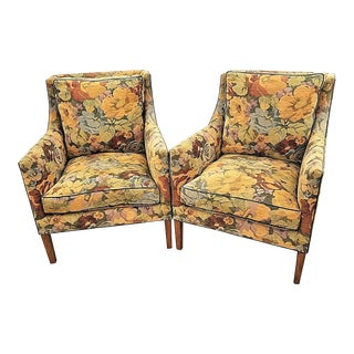 Rose Tarlow Melrose House L. A. Floral Down Armchairs - A Pair For Sale