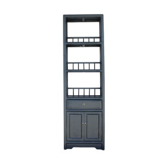 Chinese Distressed Black Small Display Bookcase Curio Cabinet For Sale