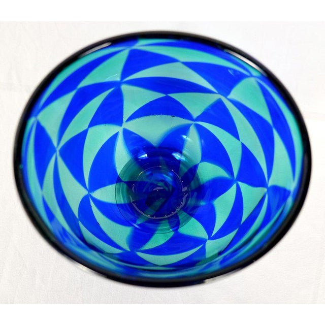 Offered for sale is a magnificent handblown blue mosaic triangle Murano Venezia glass vase by Barovier & Toso. The...