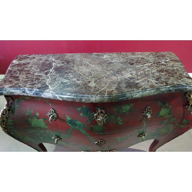 Mid 20th Century Marble Top Green Paint Decorated Bombe Red Commode For Sale - Image 5 of 11