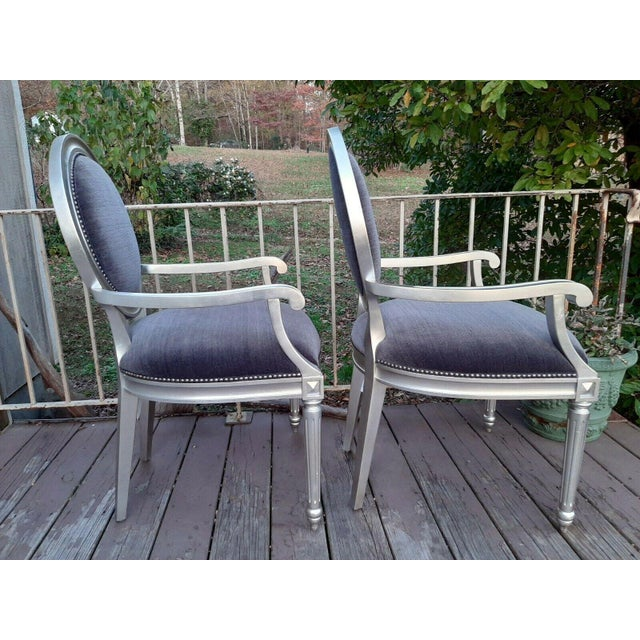 The item offered is a nice pair of Bernhardt Louis Arm Chairs. They are a Louis XVI style. Each is solid wood with a...