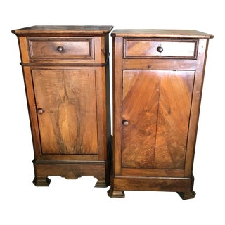 Late 19th Century Antique Walnut Nightstands - A Pair