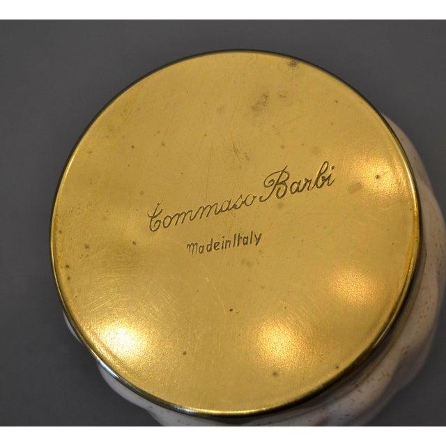 Mid-Century Modern Tommaso Barbi Beige Ceramic & Brass Lighter Italy, Signed For Sale - Image 9 of 11