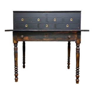 Antique Concealment Black Wooden Desk For Sale