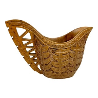 Vintage Wooden Decorative Bowl For Sale