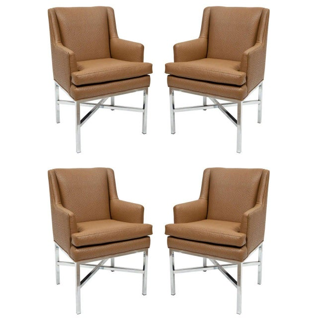 Brown Milo Baughman Attributed Armchairs - Set of 4 For Sale - Image 8 of 8