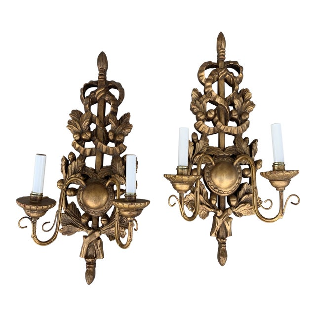 Italian Gilt Wood Carved Lighted Sconces -A Pair For Sale