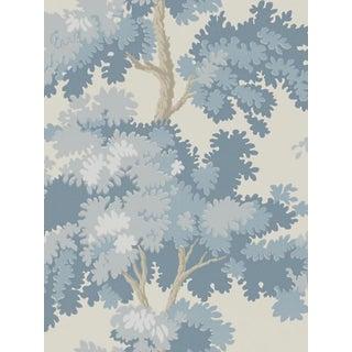 Sample, Scalamandre Raphael, Blue Wallpaper For Sale