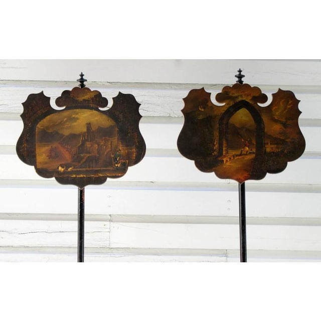 English Traditional Pair of 19th Century English William IV Painted Papier Mâché Firescreeens For Sale - Image 3 of 7