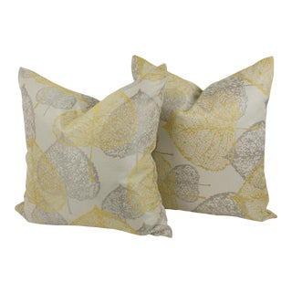 Yellow Silver-Gray Damask Throw Pillow, a Pair For Sale