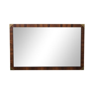 Rosewood Campaign Style Rectangular Wall Mirror For Sale