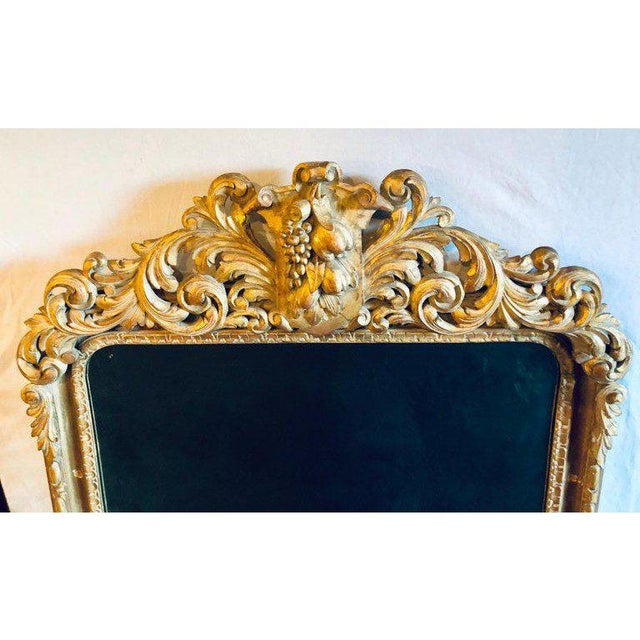 Large Carved Rococo Wall / Console Mirror W. Grape and Scroll Design For Sale - Image 4 of 12