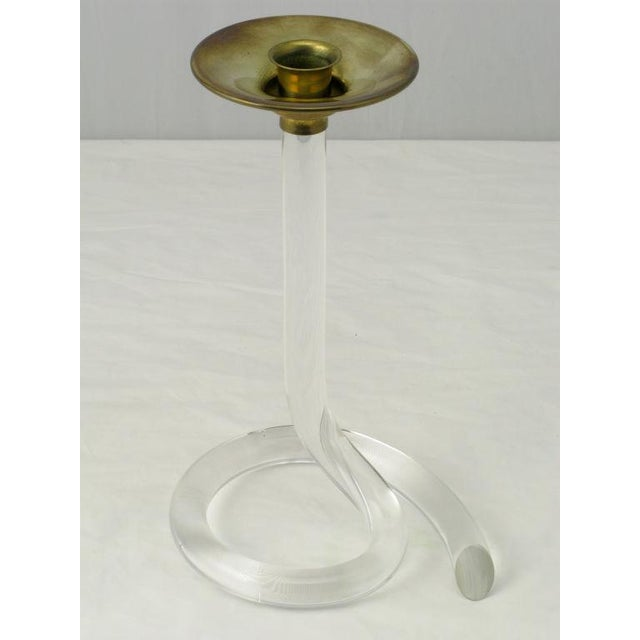 Pair Dorothy Thorpe Style Serpentine Lucite Candlesticks For Sale - Image 4 of 7