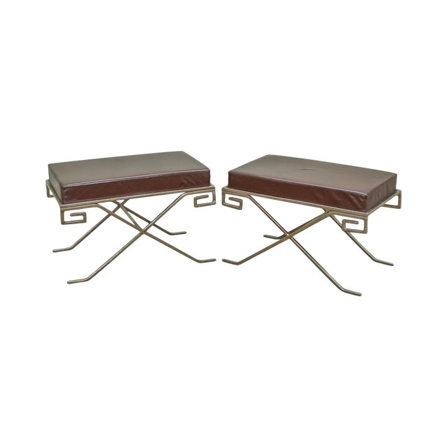 Hollywood Regency Greek Key Silver X Benches - A Pair For Sale