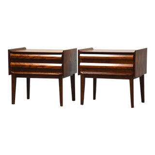 """Lane """"First Edition"""" Walnut Nightstands - a Pair Mid-Century Modern For Sale"""