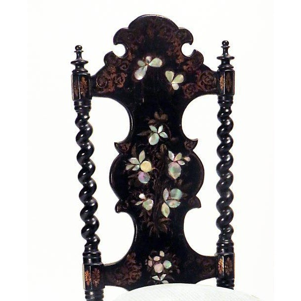 Victorian Ebonized Inlaid Side Chair For Sale - Image 4 of 5
