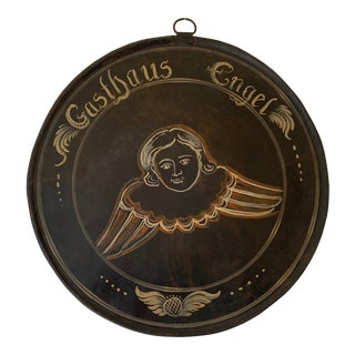 """Vintage German 27"""" Round Metal Advertising """"Gasthaus Engel"""" (Angel Inn) Sign For Sale"""