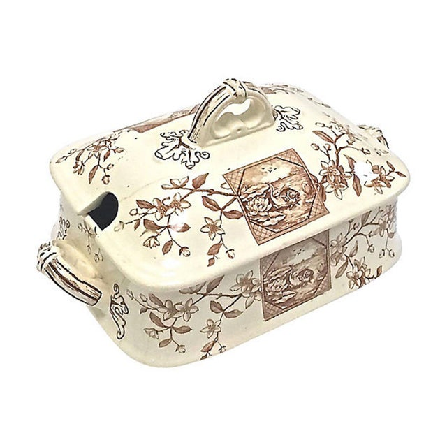 Aesthetic Movement Antique Floral & Scenic Transferware Tureen For Sale - Image 3 of 12