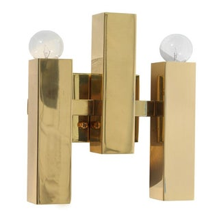 Modern Rectangular Brass Sconce
