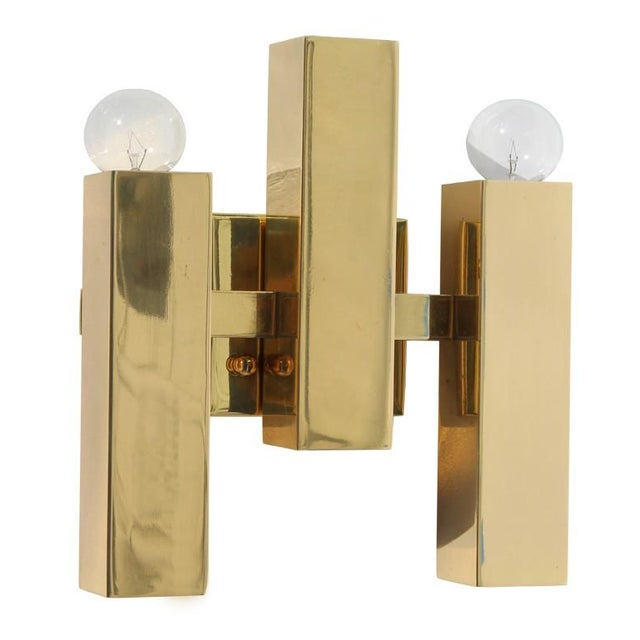 Modern Rectangular Brass Sconce For Sale